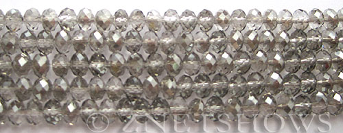 Tiaria Glass Crystal 102-Metallic Halftone Silver rondelle Beads <b>6x4mm</b> faceted     per   <b> 8.5-in-str (50-pc-str)</b>