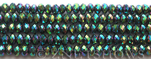 Tiaria Glass Crystal 113-Metallic Green rondelle Beads <b>6x4mm</b> faceted     per   <b> 8.5-in-str (50-pc-str)</b>
