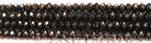 Tiaria Glass Crystal 114-Metallic Chocolate rondelle Beads <b>6x4mm</b> faceted     per   <b> 8.5-in-str (50-pc-str)</b>