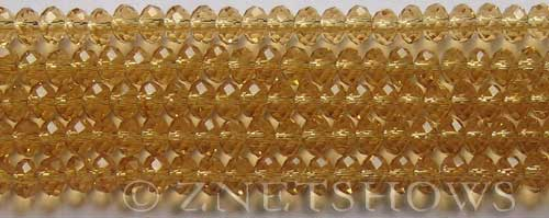 Tiaria Glass Crystal 16-Desert Gold rondelle Beads <b>6x4mm</b> faceted     per   <b> 8.5-in-str (50-pc-str)</b>
