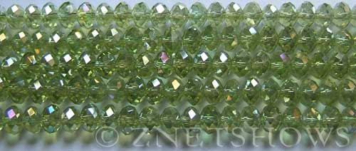 Tiaria Glass Crystal 22AB-Olive AB rondelle Beads <b>6x4mm</b> faceted     per   <b> 8.5-in-str (50-pc-str)</b>
