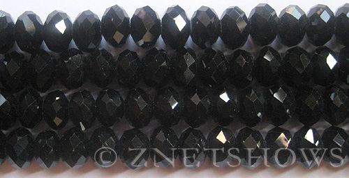Tiaria Glass Crystal 02-Jet Black rondelle Beads <b>12x8mm</b> faceted     per   <b> 8-in-str (24-pc-str)</b>