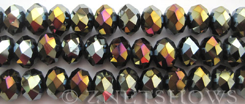 Tiaria Glass Crystal 02AB-Jet Black AB rondelle Beads <b>12x8mm</b> faceted     per   <b> 8-in-str (24-pc-str)</b>