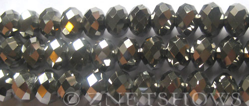 Tiaria Glass Crystal 104- Metallic Silver rondelle Beads <b>12x8mm</b> faceted     per   <b> 8-in-str (24-pc-str)</b>
