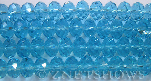 Tiaria Glass Crystal 29-Barbados Blue rondelle Beads <b>12x8mm</b> faceted     per   <b> 8-in-str (24-pc-str)</b>