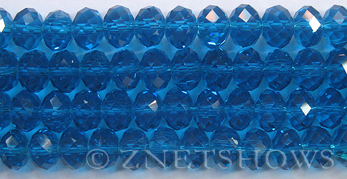 Tiaria Glass Crystal 30-Pacific Blue rondelle Beads <b>12x8mm</b> faceted     per   <b> 8-in-str (24-pc-str)</b>