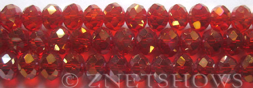 Tiaria Glass Crystal 04AB-Light Cherry AB rondelle Beads <b>10x8mm</b> faceted     per   <b> 8-in-str (26-pc-str)</b>