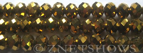 Tiaria Glass Crystal 103-Metallic Gold rondelle Beads <b>10x8mm</b> faceted     per   <b> 8-in-str (26-pc-str)</b>