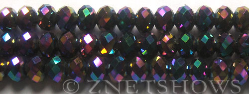Tiaria Glass Crystal 106-Metallic Peacock rondelle Beads <b>10x8mm</b> faceted     per   <b> 8-in-str (26-pc-str)</b>