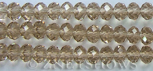 Tiaria Glass Crystal 13-Light Smoky Topaz rondelle Beads <b>10x8mm</b> faceted     per   <b> 8-in-str (26-pc-str)</b>