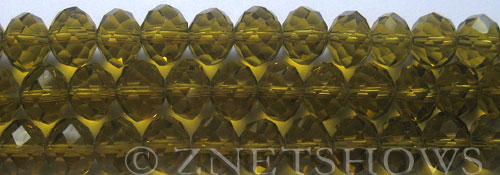 Tiaria Glass Crystal 22-Olive rondelle Beads <b>10x8mm</b> faceted     per   <b> 8-in-str (26-pc-str)</b>