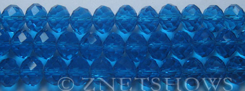 Tiaria Glass Crystal 30-Pacific Blue rondelle Beads <b>10x8mm</b> faceted     per   <b> 8-in-str (26-pc-str)</b>