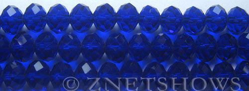 Tiaria Glass Crystal 33-Royal Blue rondelle Beads <b>10x8mm</b> faceted     per   <b> 8-in-str (26-pc-str)</b>