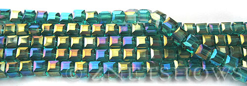 Tiaria Glass Crystal 26AB-Green Zircon AB cube Beads <b>4mm </b> faceted     per   <b> 8.5-in-str  (50-pc-str) </b>