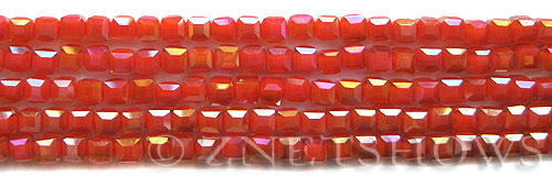 Tiaria Glass Crystal 73AB-Ruby Orange Red AB cube Beads <b>4mm </b> faceted     per   <b> 8.5-in-str  (50-pc-str) </b>