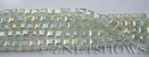 Tiaria Glass Crystal 79AB-Opaque Light Azure AB cube Beads <b>4mm </b> faceted     per   <b> 8.5-in-str  (50-pc-str) </b>