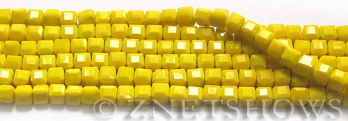 Tiaria Glass Crystal 81-Opaque Yellow cube Beads <b>4mm</b> faceted     per   <b> 8.5-in-str</b>