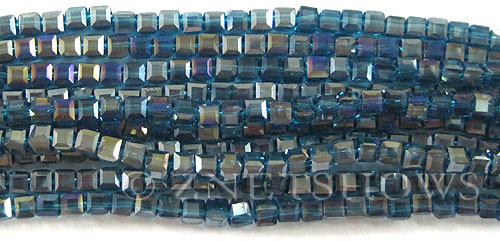 Tiaria Glass Crystal 82AB-Teal AB cube Beads <b>4mm </b> faceted     per   <b> 8.5-in-str  (50-pc-str) </b>