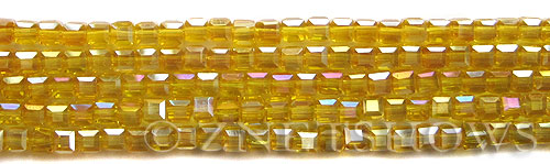 Tiaria Glass Crystal 84AB-Lemon AB cube Beads <b>4mm </b> faceted     per   <b> 8.5-in-str  (50-pc-str) </b>