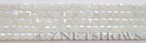 Tiaria Glass Crystal 86AB-Moonstone AB cube Beads <b>4mm </b> faceted     per   <b> 8.5-in-str  (50-pc-str) </b>
