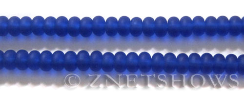 Sea Glass rondelle Beads 33-Royal Blue <b>6x4mm</b>      per   <b> 8-in-str</b>