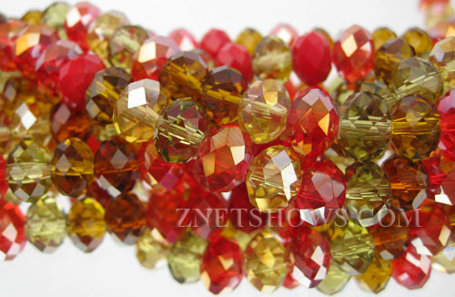 Tiaria Glass Crystal Rosemary Alexander  (Autumn Leaves) Tiaria Mix Beads <b>8x5mm</b> faceted   per   <b> 10-strand Hank</b>