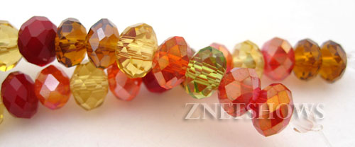 Tiaria Glass Crystal Autumn Leaves Tiaria Mix Beads <b>6x4mm</b> faceted   per   <b> 10-str-hank</b>