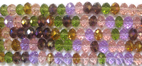 Tiaria Glass Crystal Perennial Flower Light Color Tiaria Mix Beads <b>6x4mm</b> faceted   per   <b> 10-Str-Hank</b>