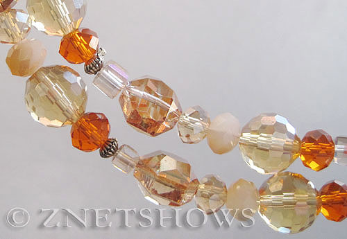 Tiaria Glass Crystal champange tone mix Tiaria Mix Beads <b>varies</b> faceted   per   <b> 8-in-str</b>