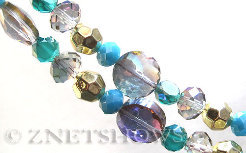 Tiaria Glass Crystal Sahara Green tone mix Tiaria Mix Beads <b>varies</b> faceted   per   <b> 8-in-str</b>