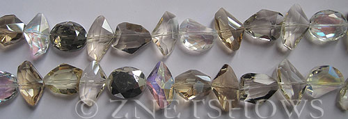 Tiaria Glass Crystal 69-Tan Color Tiaria Mix Beads <b>varies</b> faceted mix small    per   <b> 8-in-str (14-pc-str)</b>