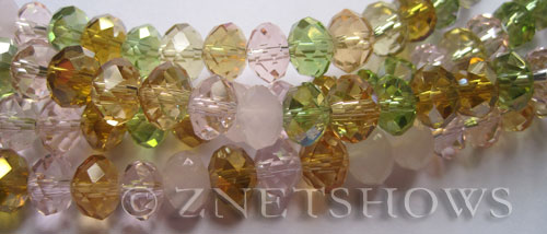 Tiaria Glass Crystal Spring Delight Tiaria Mix Beads <b>8x5mm</b> faceted   per   <b> 10-str-hank</b>