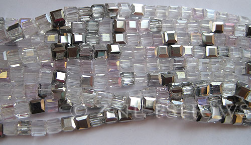 Tiaria Glass Crystal Steel Rose cube Beads <b>4mm</b> faceted   per   <b> 10-str-hank (50-pc-str)</b>
