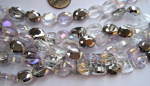 Tiaria Glass Crystal Steel Rose Tiaria Mix Beads <b>12x9mm</b> faceted   per   <b> 5-str-hank (17-pc-str)</b>