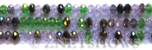 Tiaria Glass Crystal Spring Violets Tiaria Mix Beads <b>8x5mm</b> faceted   per   <b> 10-str-hank</b>
