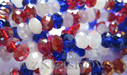 Tiaria Glass Crystal Old Glory Mix Beads Only  Tiaria Mix Beads <b>8x5mm</b> faceted   per   <b> 10-str-hank</b>