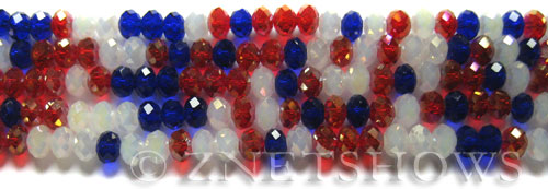 Tiaria Glass Crystal Old Glory  Tiaria Mix Beads <b>6x4mm</b> faceted   per   <b> 10-str-hank</b>