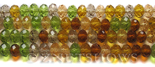 Tiaria Glass Crystal Desert Charm Tiaria Mix Beads <b>8x5mm</b> faceted   per   <b> 10-str-hank</b>
