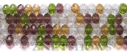 Tiaria Glass Crystal Crystal Edge Tiaria Mix Beads <b>8x5mm</b> faceted   per   <b> 10-str-hank</b>
