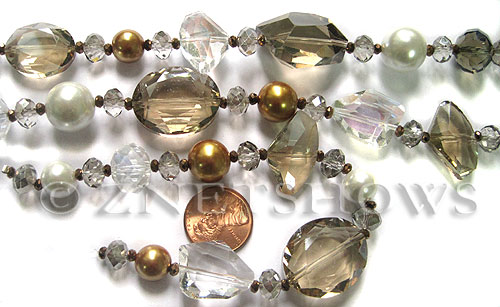 Tiaria Glass Crystal Caramel Mix Tiaria Mix Beads <b>Varies</b> faceted   per   <b> 8-in-str</b>