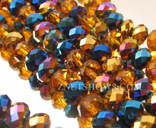 Tiaria Glass Crystal Arabian Tapestry  Tiaria Mix Beads <b>8x5mm</b> faceted   per   <b> 10-strand Hank</b>