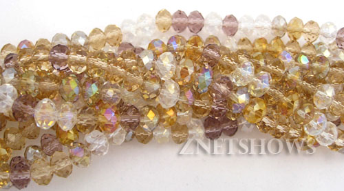 Tiaria Glass Crystal Smoke in Eyes Tiaria Mix Beads <b>6x4mm</b> faceted   per   <b> 10-str-hank</b>