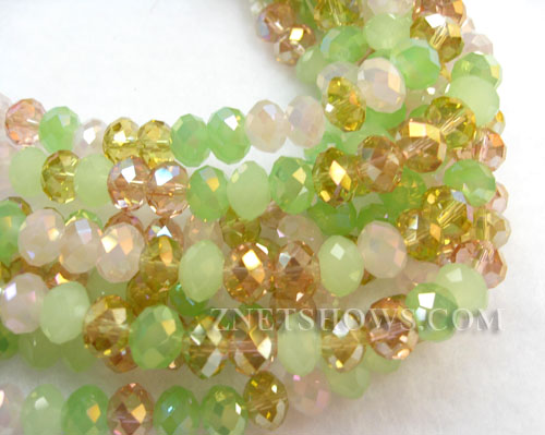 Tiaria Glass Crystal Cherry Blossom Tiaria Mix Beads <b>8x5mm</b> faceted   per   <b> 10-str-hank</b>