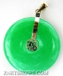 Collectibles green Burma Style jade coin puffed Pendants <b>25mm diameter</b>  Disc Happiness Pendant per   <b>piece</b>
