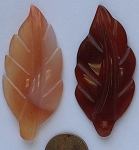 carnelian heat-treated leaf Pendants <b>55x26mm</b> carved    per   <b>piece</b>