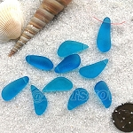 Cultured Sea Glass teardrop nugget charms <b>about 8-10x16-21mm</b> 30-Pacific Blue <b> top side drilled </b> per <b>10-pc-bag</b>