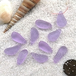 Cultured Sea Glass teardrop nugget Pendants <b>about 8-10x16-21mm</b>  39-Periwinkle Changes tip-drilled  per <b>10-pc-bag</b>