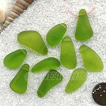 Cultured Sea Glass teardrop nugget Pendants <b>about 10-15x21-28mm</b> 22-Olive freeform drops <b> top side drilled </b>per <b>10-pc-bag</b>