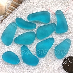 Cultured Sea Glass teardrop nugget Pendants <b>about 10-15x21-28mm</b> 30-Pacific Blue freeform drops <b> top side drilled </b>per <b>10-pc-bag</b>