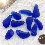 Cultured Sea Glass teardrop nugget Pendants <b>about 10-15x21-28mm</b> 33-Royal Blue freeform drops <b> top side drilled </b>per <b>10-pc-bag</b>